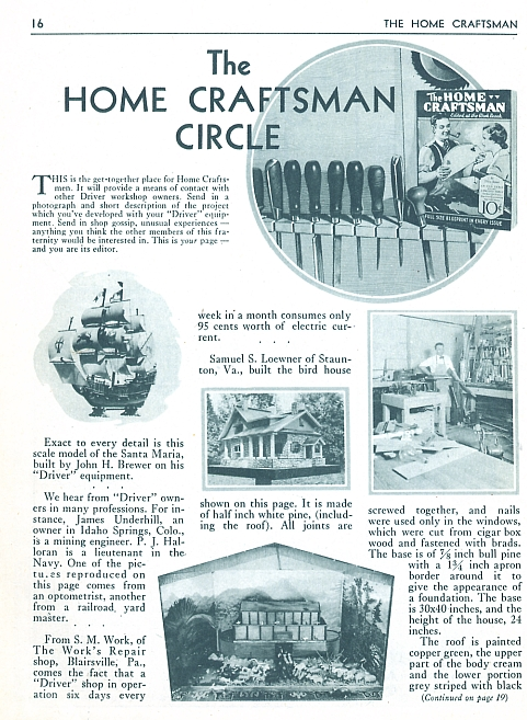 "home craftsman ""circle"" 1931"
