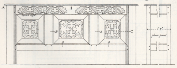 measured drawing of old oak chest, j w hurrrell, 1902