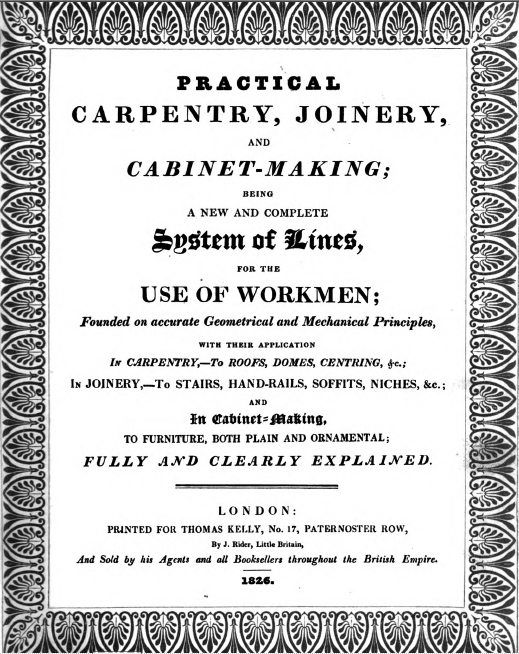 peter nicholson title page practical carpentry, etc., 1826