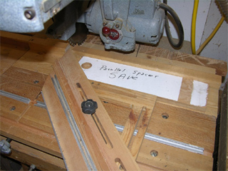 jig for cutting frame on radial arm saw