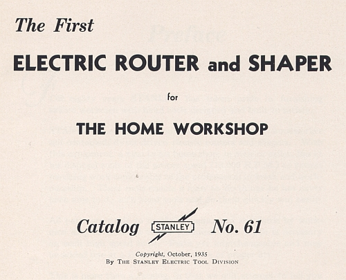 title page for 1935 stanley carter router shaper cat
