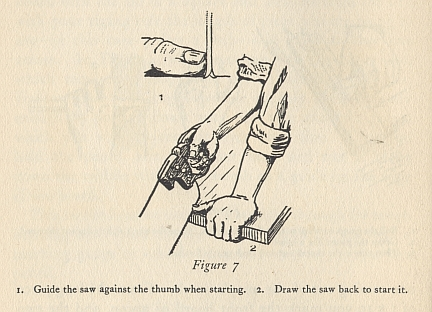 guide the saw against the thumb
